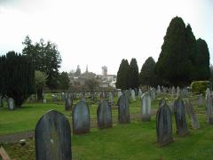 Rockwell Green graveyard overlooking Barley Mow pub, where Tylor is buried