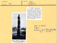 1965.5.1.408 Stone signpost at Wroxton, Oxfordshire. Cutting from Country Life c. 1951.