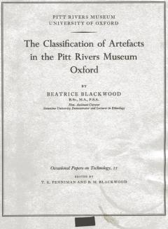 Occasional paper 'Classification of Artefacts' by Beatrice Blackwood