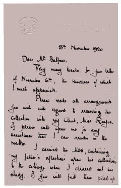 Letter from Bell to Balfour dated 8 November 1920. [RDF] Copyright PRM