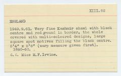 Catalogue card prepared by museum staff for 1949.9.61, a Kashmir shawl donated by Margaret Irvine. This card was probably typed