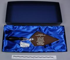 2006.78.1 Ceremonial trowel given to John Hood at the PRM topping-out ceremony